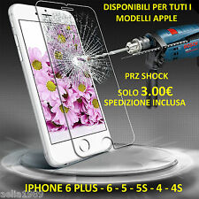 PELLICOLA VETRO TEMPERATO ULTRA RESISTENTE PER APPLE IPHONE 6PLUS 6 5S 5 4 4S.