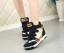 Womens Wedge Inside Velcro High Top Boots Fashion Sneakers Sport Trainer Shoes