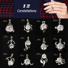 12 Constellations Silver Crystal Chain Pendant Necklace Gift Zodiac Sign Jewelry