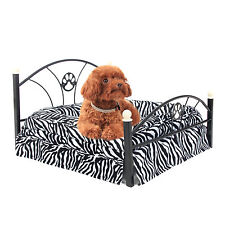 Leopard Pet Bed Small Dog Bed Metal Frame Puppy Cat Kitten Crate Cushion Kennel