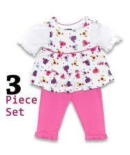 Baby Girls Bird Motif Three Piece Set, 0-3, 3-6, 6-12 Months