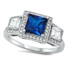 Blue Sapphire CZ Ring, 925 Sterling Silver, September Birthstone, Classic Design