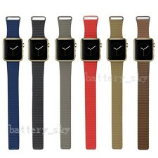 Stone Leather Loop Watch band Strap For Apple Watch Magnetic Buckle 38mm 42mm