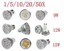 Power MR16 E27 GU10 E26 B22 Base Socke 9W 12W 15W CREE LED Spot Light Lamp Bulb