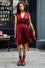 "Love Bricklane ""Stella"" Burgundy Belt Dress."