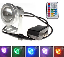 85-265V LED Underwater Spot Light 10W Lamp RGB Bulb + Remote for Aquarium Pool