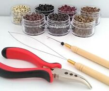 200 Silicone MICRO BEADS Hair Extension Tools KIT- Pliers,Loop,Hook.I-Tip