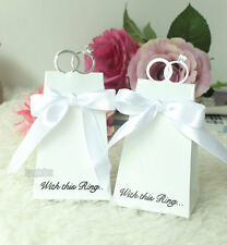 20/100Pcs White Diamond Ring Style Wedding Party Gift Box Candy Favors Paper Bag