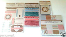 Papermania Craft Collection Pastels Embellishments Trims Toppers Paper Pockets