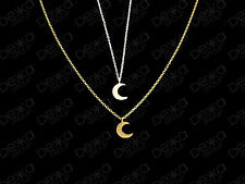 925 Sterling Silver / 18K Gold Vermeil Crescent Moon Necklace Small Mini Pendant