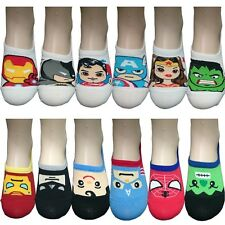 6 Pairs Womens Ankle Socks Superhero Nonslip Invisible No Show Low Cut Loafer