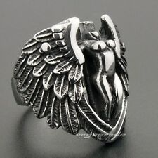 Wing Angel Cross Protection Art Mens 316L Stainless Steel Ring 6M001D