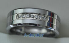 Tungsten carbide Diamond Wedding Band Men & women unisex Ring 0.22 ct  7.5 - 13