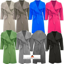 Womens Italian Design Long Waterfall Belted Long Sleeve Trench Coat Jacket Cape