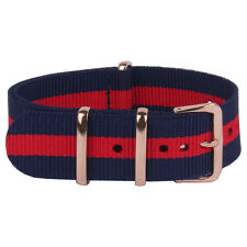 Rose Gold Buckle 18mm 20mm 22mm navy red Nato Nylon watch strap band watchband