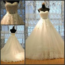 STOCK New Lace Ivory/White Net Bridal Gown Wedding Dress Size 6 8 10 12 14 16 18