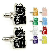 MANEKI NEKO CUFFLINKS Lucky Cat Stainless Steel HIGH QUALITY w GIFT BAG Pair NEW