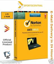Norton Antivirus 1PC 1 Year CD Key Global Version Symantec protection 2015 New