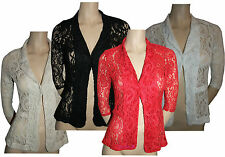 Ladies Women's Summer Lace Blazer Open Front Suits Fancy Coats Jackets Tops 8-16