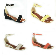 WOMENS LADIES SUMMER ANKLE STRAP FLAT LOW WEDGE HEEL SANDALS SHOES SIZE 3-8