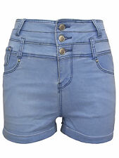 NEW EX-NEW LOOK LIGHT BLUE HIGH WAISTED TURN UP DENIM SHORTS SIZES 6-16 RRP£18