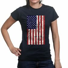American Flag Distressed Womens Ladies Girls Top 4th July USA Pride T shirt