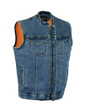 MEN'S MOTORCYCLE SON OF ANARCHY BLUE DENIM VEST GUN POCKET INSIDE W ZIPPER NEW