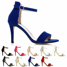 WOMENS LADIES BARELY THERE HIGH HEEL ANKLE STRAPPY BUCKLE PARTY SANDALS SIZE 3-8