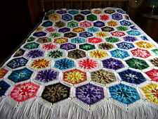 """Gorgeous  Hand Crocheted Kaleidoscope Multi-Color Afghan 74""""x54"""" with 4"""" Fringe"""