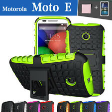 TPU Case Cover Motorola Moto E 1st Silicone Shockproof Heavy Duty With Kickstand