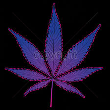 Neon Purple Pot Leaf Marijuana 420 Kush Chronic Funny Weed Lovers T-Shirt Tee