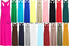 LADIES NEW MAXI TOGA RACER BACK DRESS WOMEN'S LOOK LONG PUFF BALL PLUS SIZE 8-24