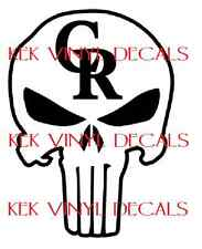 COLORADO ROCKIES-THE PUNISHER CUSTOM VINYL DECAL-STICKER-SIZE AND COLOR