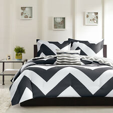 4 PC Plush Reversible Zig Zag Chevron Comforter Set, Black / Grey, Teal / Grey