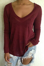 Urban Outfitters Chaser V Neck Long Sleeve Top 100% Linen Wine Size XS,S NWT $69