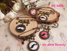 1 Women Girl Beard Retro Vintage Look Cameo Scarf Collar Hat brooch Brooche Pin