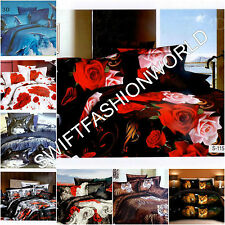 3D Effect Duvet Covers With Fitted Sheet Floral Animal 4Pcs Complete Bedding Set