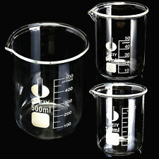 Laboratorio BECHER borosilicato vetro Beaker beakers 50ml/100ml/500ml