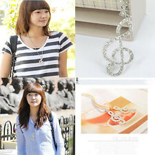 Women Gold Crystal Music Note Rhythm Long Chain Sweater Necklace Pendant Beauty