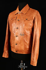 LEVIS TAN Mens Smart Collared Casual Retro Real Lambskin Leather Jacket