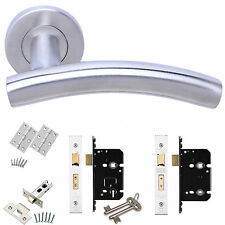 Arch Internal Door Handle Lever on Round Rose with Latch Lock Bathroom pack- new