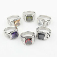 Cool Men's Jewelry Silver Zircon 316L Stainless Steel Ring Fashion