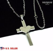 VALYRIA Men's Women's Stainless Steel Lord's Prayer Heart Cross Pendant Necklace