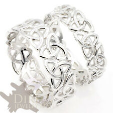 9ct White GOLD GENUINE DIAMOND Celtic Trinity Knot HIS/HER Wedding Band Ring H-Z