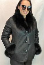 Black 100% Sheepskin Shearling Leather Lambskin Toscana Hood Jacket Coat XS-5XL