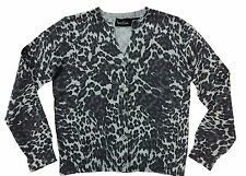 New Kershies Girl Gray Leopard Print Crystal Button Knit Sweater Cardigan 6 7 8