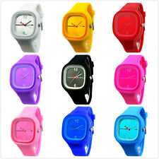 Women Men Silicone Unisex Band Quartz Sport Candy Jelly Color Wrist Watch Gifts