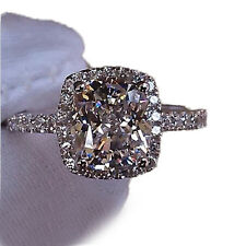 Brand Jewelry Womens White Sapphire 925 Silver Filled Wedding Ring Size 5-9