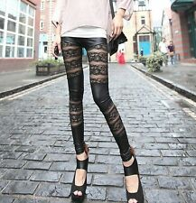Women Lady Celebrity Sexy Party Lace Wet Leather Look pants Tights