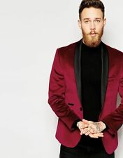 MEN BLAZER BRAND NEW DESIGNER SLIM FIT PARTY WEAR ONE BUTTON MAROON VELVET COAT